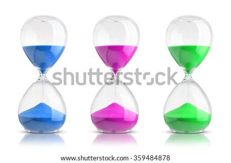 Collection of hourglasses isolated on white background - stock photo