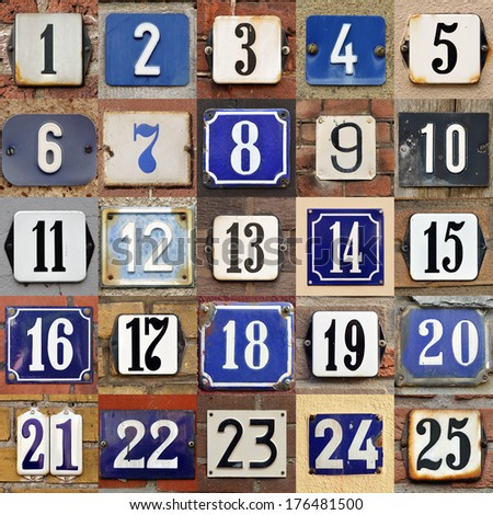 Collection of House numbers one to twenty-five - stock photo
