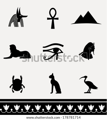 Collection of icons - ancient egypt. - stock photo