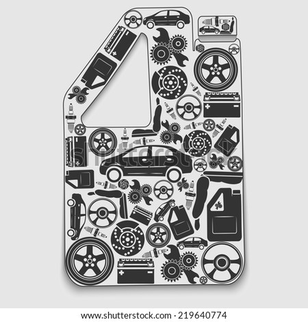 Collection of icons arranged in a canister. The concept of automotive subjects.
