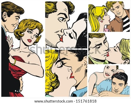 Collection of illustrations showing couples in love - stock photo