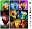 Collection of images of alcohol in different ways. - stock photo