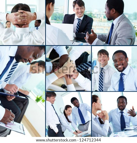 Collection of images of businesspeople at work in office - stock photo