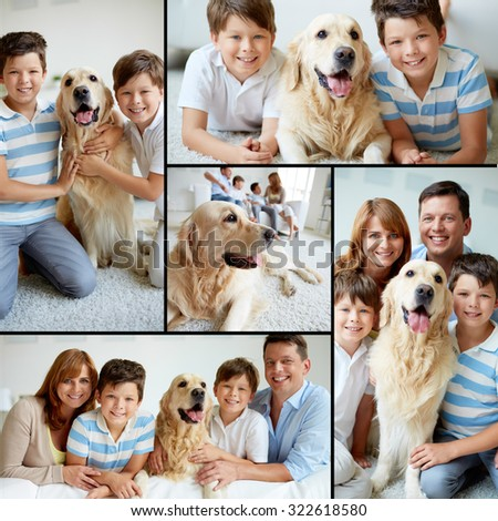 Collection of images of modern family spending weekend at home - stock photo