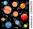 collection of images of planets in the solar system with graphical symbols - stock photo