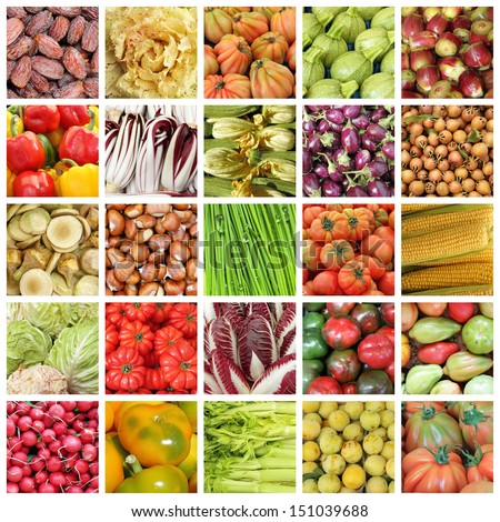 collection of images of vegetables  and fruits from farmers market in Italy  - stock photo