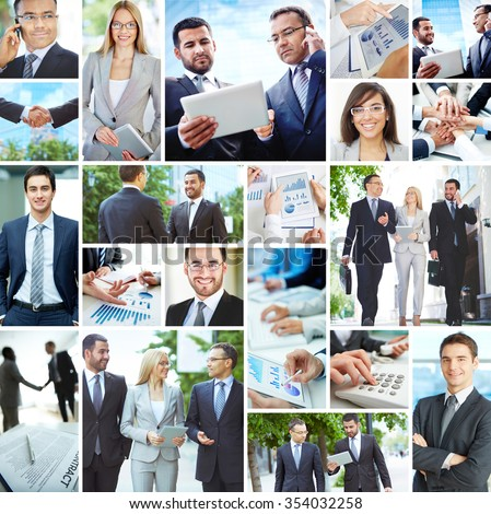 Collection of images with modern business people - stock photo