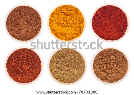 collection of indian spices (cumin, coriander, paprika, garam masala, curcuma, chili powder) on glass cups isolated on white background (shallow DOF, focus on first)