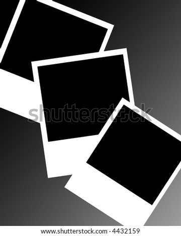 Collection of instant photo frames on background