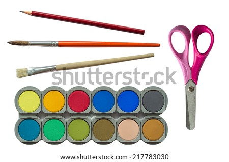 Collection Of Isolated Children's Back To School Stationary And Paints - stock photo