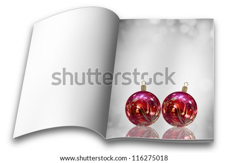 Collection of Isolated Christmas balls picture books - stock photo