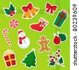 collection of isolated christmas icons (raster version) - stock photo