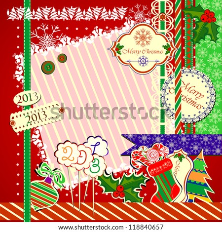 Collection of Isolated Christmas Scrapbooks Elements, Raster Illustration