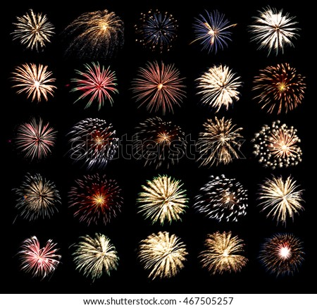 Collection of isolated fireworks on black background