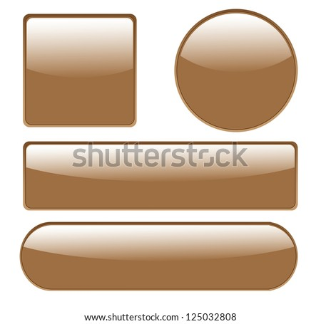 ... glossy buttons in different shapes on white background. - stock photo
