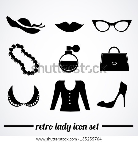 Collection of isolated, retro, vintage, lady accessories icons on white background. - stock photo