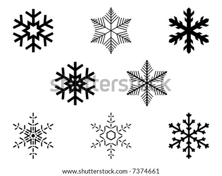 Collection of isolated snowflakes, vector illustration