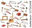 collection of isolated tools on white background (cut outs) - stock photo