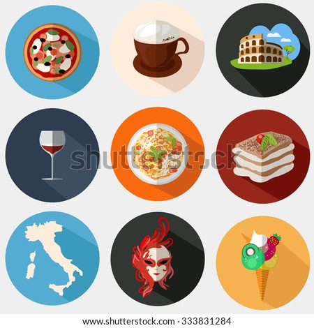 Collection of Italian icons in a flat style. Icons with elements of pizzas, pastas, Coliseum, coffee, masks, wine, tiramisu, maps of Italy. - stock photo