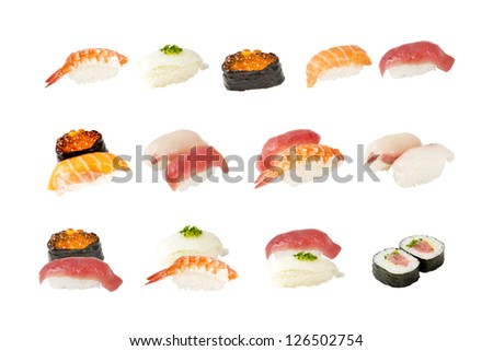 Collection of Japanese sushi isolated on white background