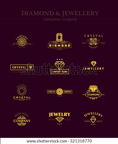 Collection of jewelry and diamond logos. Flat crystal company insignia template. Vintage logo design. - stock photo