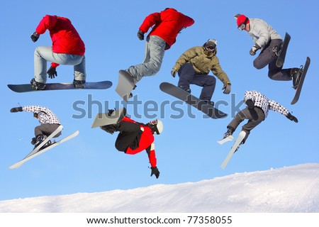 Collection of jumping ski and snowboard riders on blue clear sky background