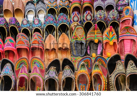 "Collection of ""Jutti"" traditional colorful shoes of Rajasthan, India - stock photo"