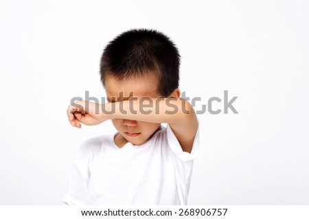 collection of kids with different emotions on white background
