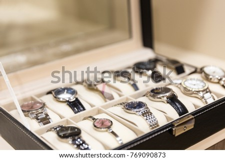 Collection of ladies wrist watches in storage box & Wrist Watch Box Stock Images Royalty-Free Images u0026 Vectors ... Aboutintivar.Com