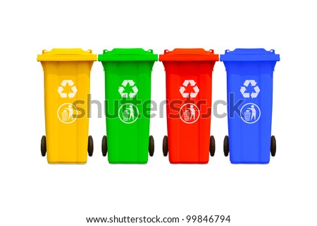 Collection of large colorful trash cans (garbage bins) with recycle mark - stock photo