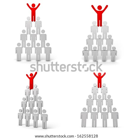 Collection of leadership concept isolated on white background , Red man standing with arms wide open up on top of pyramid - stock photo