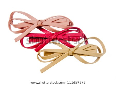 collection of leather hair bows - stock photo