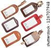 Collection of leather luggage tags isolated on white background - stock photo