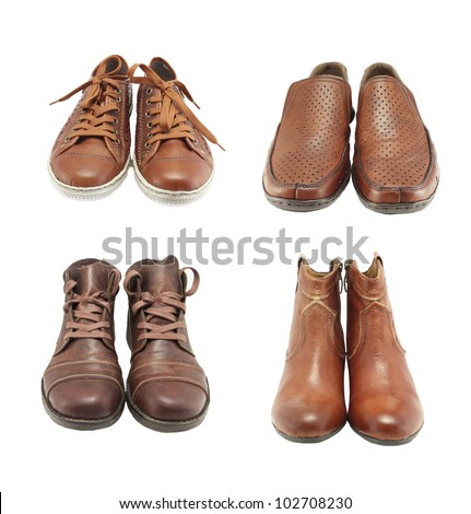 collection of leather shoes for men and women,isolated on white background - stock photo