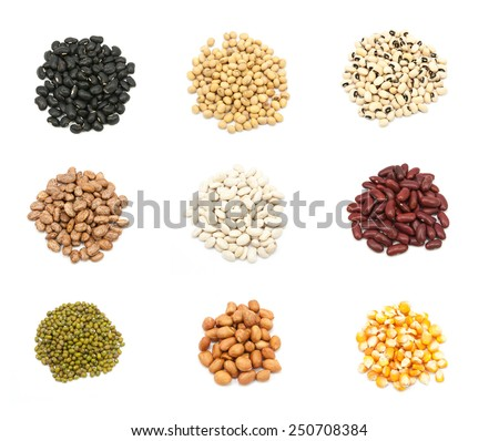 collection of legumes in the cup isolated on white background