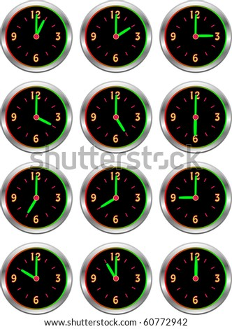 Collection of luminous clocks showing each hour of the day illustration - stock photo