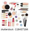 Collection of make-up accessories on white background - stock photo