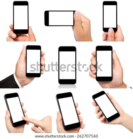 collection of male and female hand holding the phone with isolated screen - stock photo