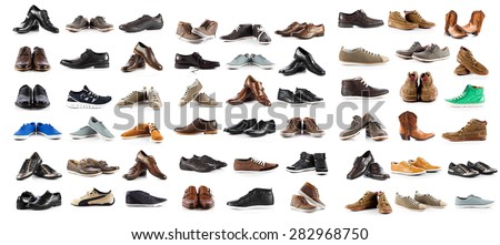 Collection of male shoes over white background - stock photo
