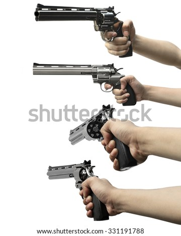 Collection of man hand holding gun isolated over white background - stock photo