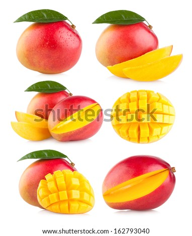 collection of 6 mango images - stock photo