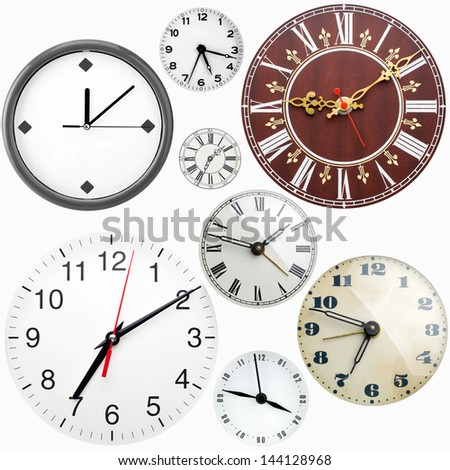 Collection of many clock faces isolated on white - stock photo
