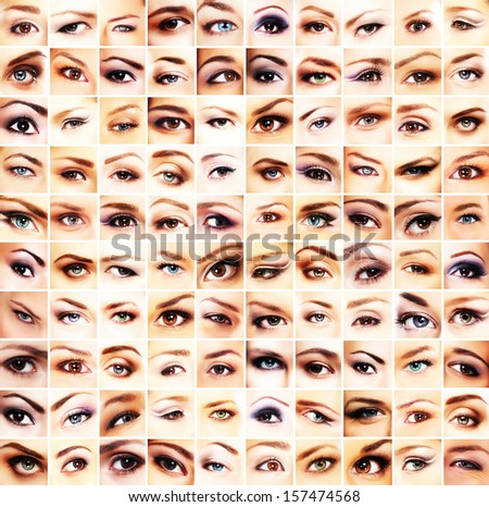 Collection of many different and beautiful female eyes  - stock photo