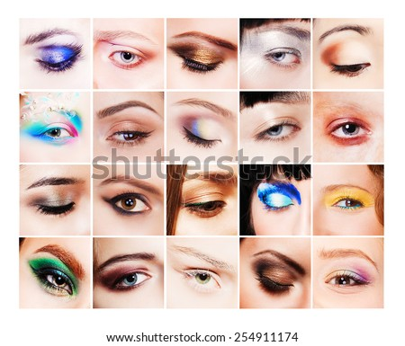 Collection of many different and beautiful female eyes with creative colorful makeups - stock photo