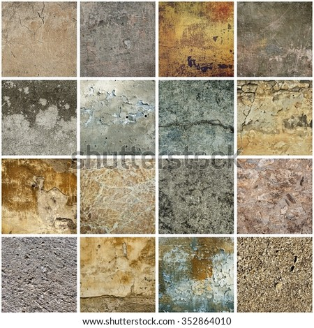 Collection of many images with vintage grunge texture of old weathered dirty wall - stock photo