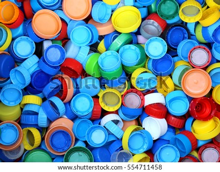 collection of many plastic caps for recycling the material and does not pollute the environment