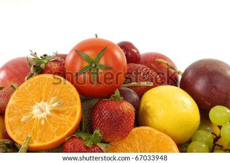 Collection of many ripe fruits on white background