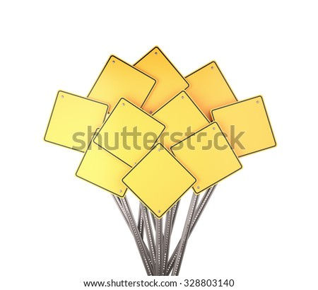 Collection of many yellow blank road signs , 3d render - stock photo