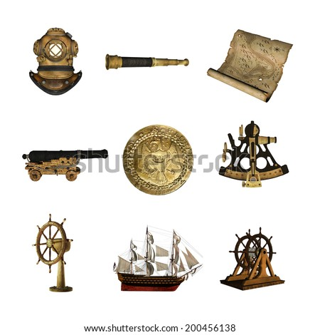 Collection of Maritime Artifacts - stock photo