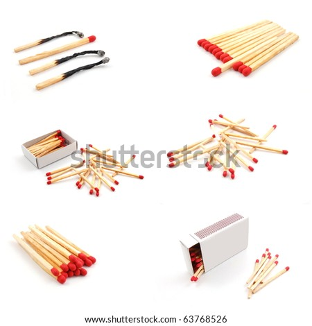 collection of matches showing hot  fire concept - stock photo